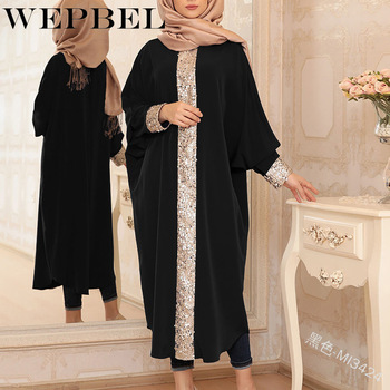 WEPBEL Women Dress Batwing Sleeve Sequined Casual Muslim Abaya Fashion Islamic Lady Long Maxi Dresses