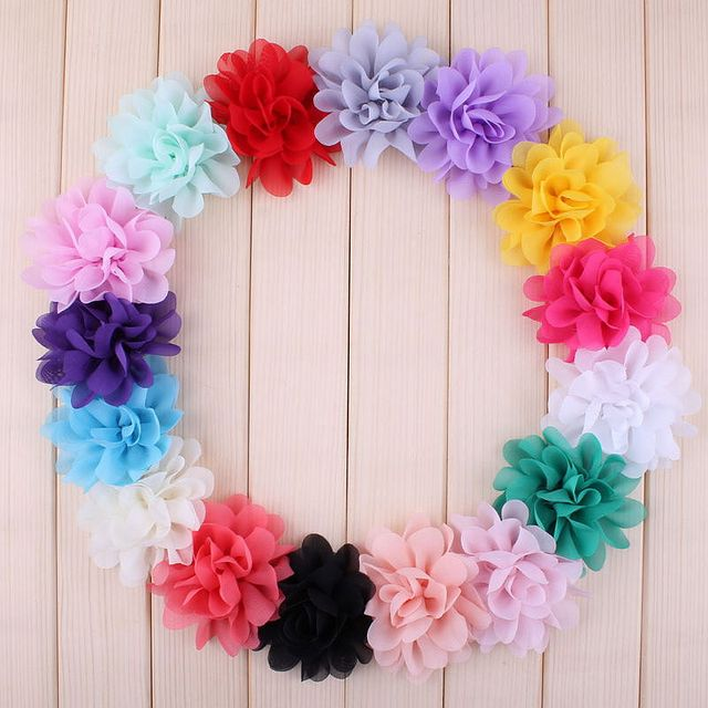 """Buquê boutique de flores de chiffon para cabelo, 20 peças, 5cm, 1.97 """", acessórios para cabeça de cabelo, tecido sem uso diy clipes clipes"""