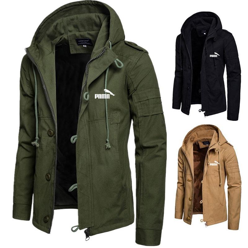 Solid Hoodies Jackets Men Autumn Winter New Hoodies Mens Jackets Plus Size S-3XL Mens Coats Zipper Button Hoodies Jacket for Men