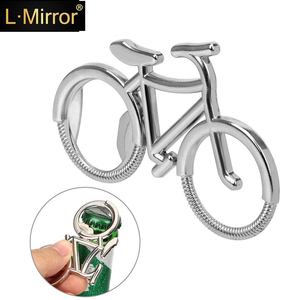L.Mirror 1Pcs Fashion Metal Beer Bottle Opener Cute Bike Bicycle Keychain Key Rings for Lover Biker Bottle Openers Creative Gift