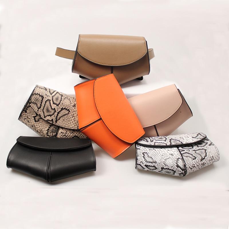 Women Serpentine Fanny Pack Ladies New Fashion Waist Belt Bag Mini Disco Waist Bag Leather Small Shoulder Bags