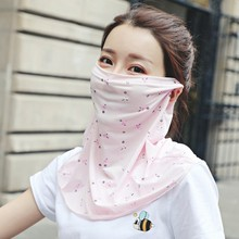Women Chiffon Face Mask Summer UV Protection Scarf Sun Cycling Printed Cover Breathable Hiking Riding Neck