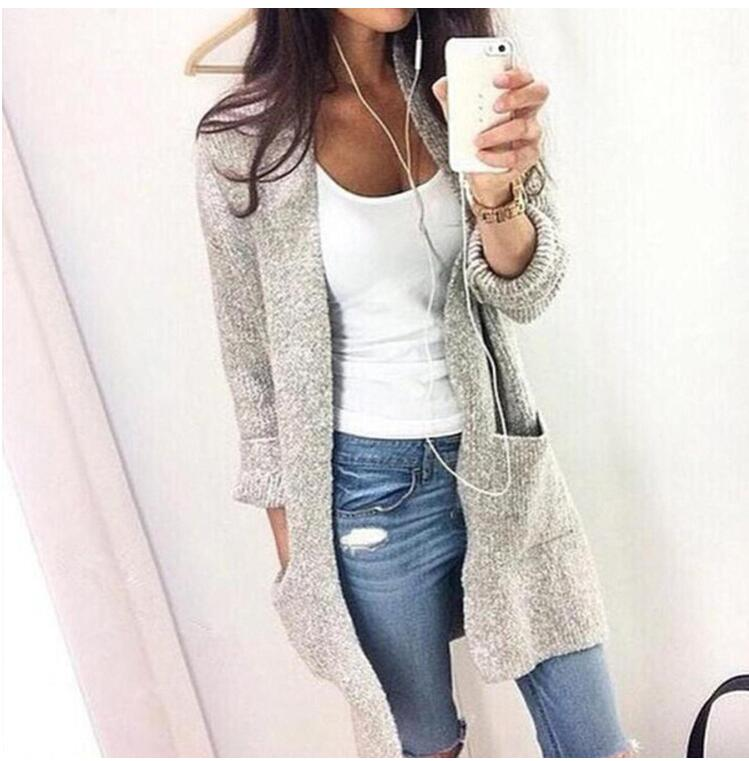 Autumn Winter Fashion Women Long Sleeve Loose Knitting Cardigan Sweater Women Knitted Female Cardigan Pull Femme