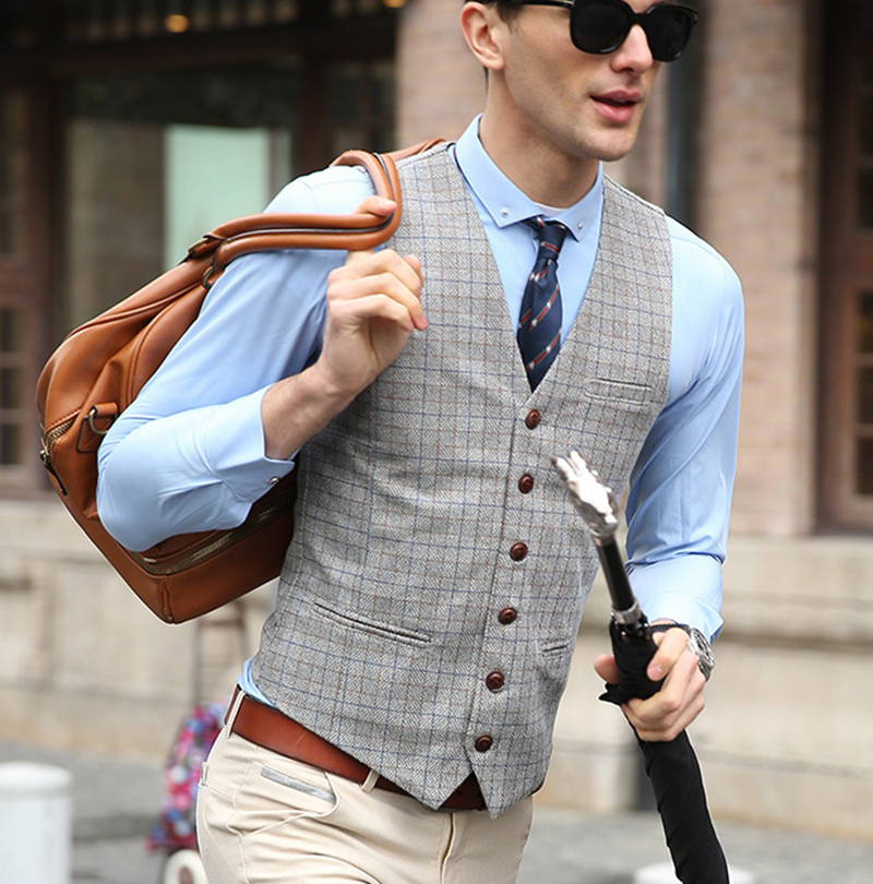 Solovedress New Arrival Dress Vests Plaid Men Slim Fit Vest Male Waistcoat Casual Formal Business XXL Tweed Herringbone