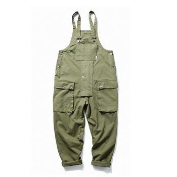 Multi Pocket Overalls Casual Men Jumpsuit Streetwear Loose  Pieces Caro