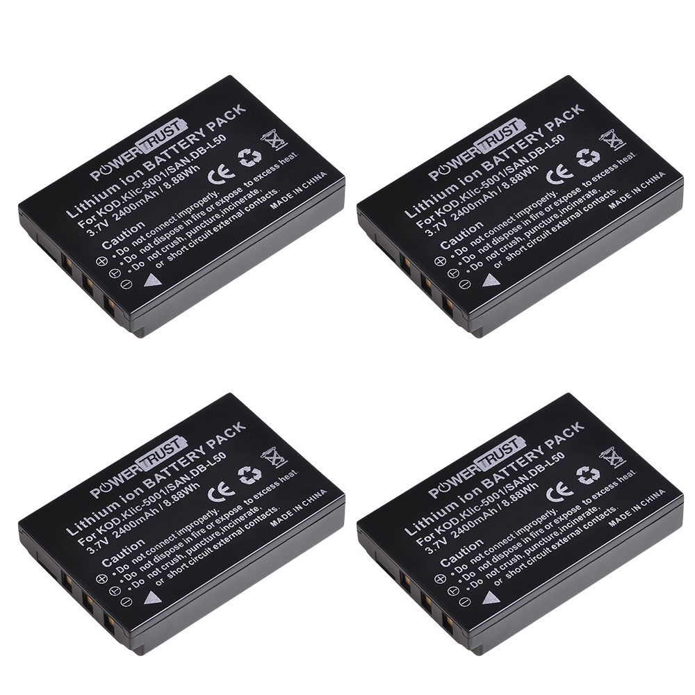 Фотоаккумулятор для Kodak Easyshare P712 P850 P880 Z730 Z760 Z7590 DX6490 DX7440 DX7590 DX7630 Zoom, 1x2400 мАч
