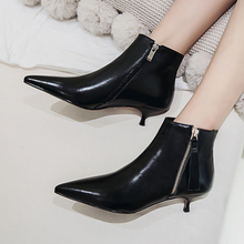 Plus Size 34-43 Fashion Genuine Leather Pointed Toe High Heel Boots Shoes Woman Zipper Ankle Boots Thin Heel Women Boots Pumps genuine leather square high heel buckle woman ankle boots fashion pointed toe zipper ladies boots black apricot