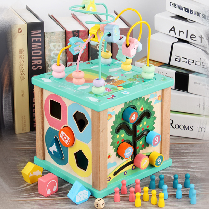 BOA Multi-functional Treasure Chest Four Sides Wire Box Matching Building Blocks Bead-stringing Toy Children Early Education ENL