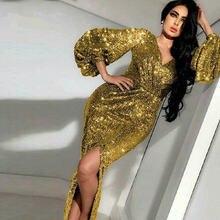 Блестящие яркие золотые платья с блестками для выпускного вечера