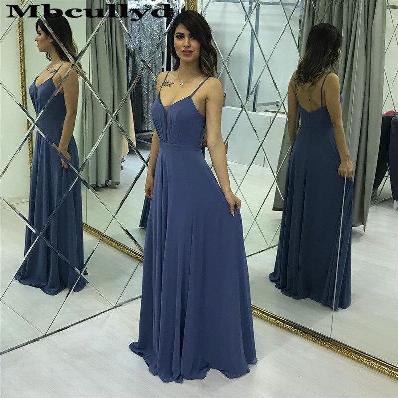 Mbcullyd Navy Blue Prom Dresses Long 2020 V-neck Backless Imported Evening Dress Flowing Chiffon Vestidos De Fiesta De Noche
