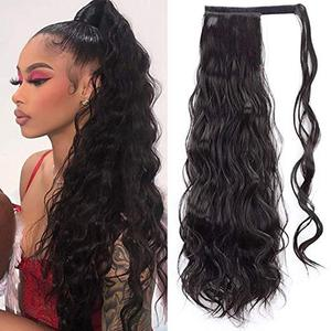 60cm Long Wavy Ponytail Extension For Women Synthetic Wrap Around Magic Paste Curly Ponytail Corn Wave Clip In Hairpiece(China)