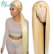 Pelucas de cabello humano brasileño Remy para mujeres, postizo de encaje Frontal de 13x4, con cierre de 4x4, 180 de densidad, 613 rubio miel