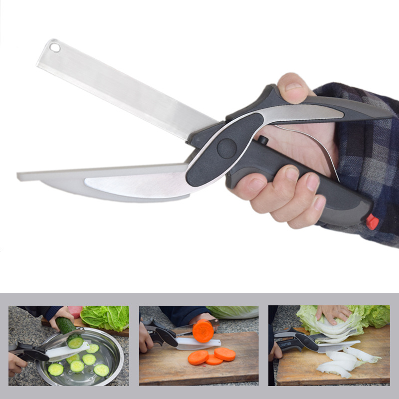 New Multi Function Smart Clever Scissor Cutter 2 in 1 Cutting Board Utility Cutter Stainless Steel Ourdoor Smart Vegetable Knife|Kitchen Knives| |  - AliExpress