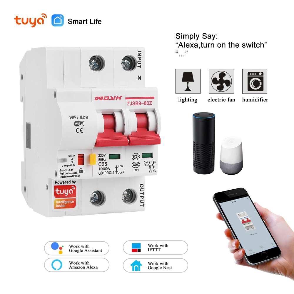 Smart Life(tuya) app 2p WiFi Smart Circuit Breaker overload short circuit protection with  Alexa google home for Smart Home 1
