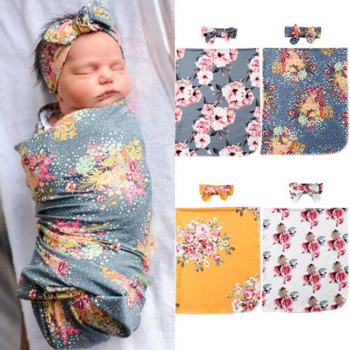 2Pcs Newborn Baby Floral Snuggle Swaddling Wrap Blanket Sleeping Bag Swaddle Headband Set
