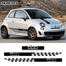 Vinil çıkartma aksesuarları Fiat 500 otomatik motor kapağı kaputu çizgili dış vücut dekor 1 takım araba kaput kapı yan etek etiket
