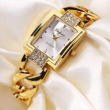 Женские часы браслет из нержавеющей стали золотые стразы кварцевые