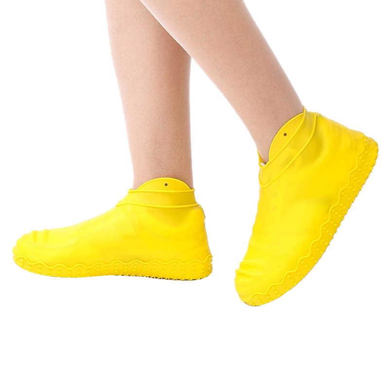AUAU silikon açık kaymaz su geçirmez ayakkabı kapakları taşınabilir yağmur çizmeleri yağmur geçirmez ayakkabı koruyucu erkekler kadınlar gençler anti-kum ayakkabı C