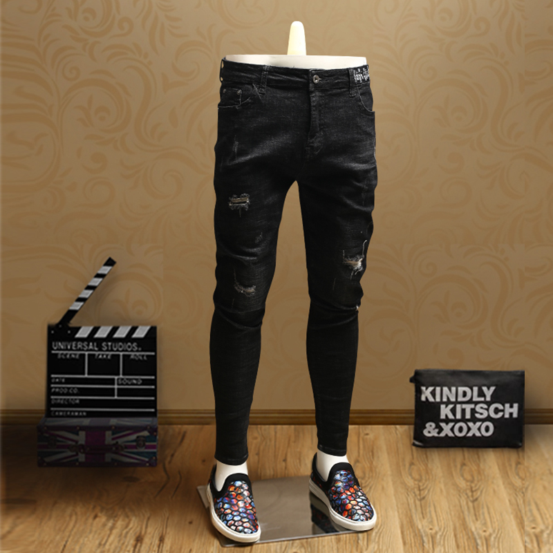 Streetwear Mens Skinny Ripped Jeans Black Jean Pants Cotton Cowboys Men PSMJ72