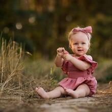 Baby Girl Romper Jumpsuit Headband Straps Halter Romper Sunsuit Outfits Baby Girl Ruffle Bodysuit Newborn Kids Clothing Set