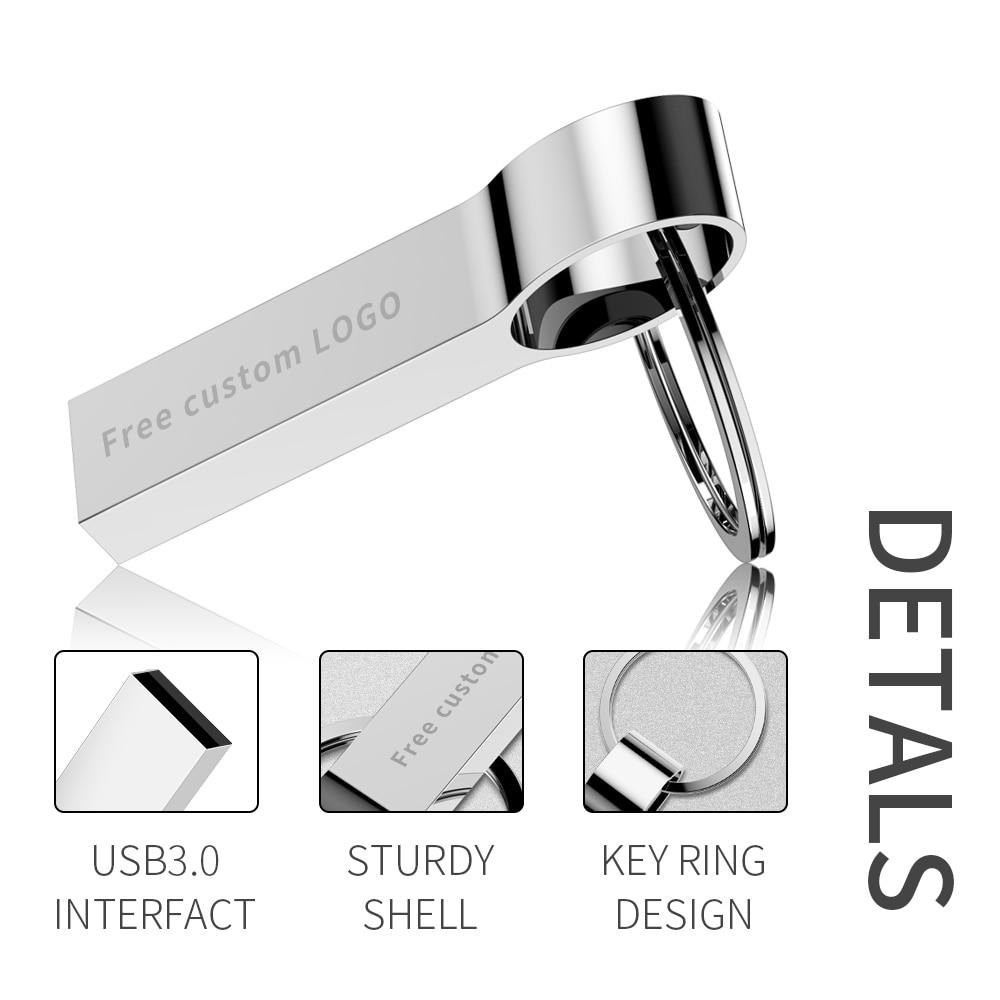 New Usb Flash Drive 64gb Metal USB 3.0 Silver Pendrive 4GB 8GB 16GB 32GB U Disk Pen Drive 128gb Flash Stick Key Free Custom LOGO