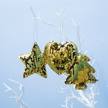 Pack Of 3 Christmas Hanging Decoration For Home Xmas Ornaments Costume Sequin Design Decorations