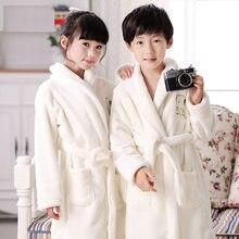 Зимний ванный халат принцессы для девочек, фланелевые теплые длинные халаты мягкие хлопковые пижамы для мальчиков повседневная детская одежда для сна для 3-14 лет