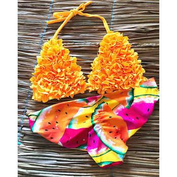 Bikini 2020 Mujer 3D Flower Swimsuit Women Swimwear Halter Brazilian Bikini Set Print Bathing Suit Swimming Suit For Girls