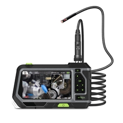 5Inch Industrial Endoscope Borescope 8mm Mini Dual Lens Inspection Camera with Semi-Rigid Tube LED Lights and Toolbox