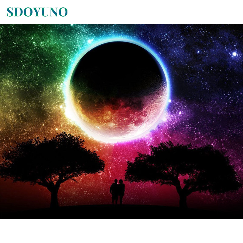 SDOYUNO 60x75cm Painting By Numbers Moon Landscape DIY Frameless Pictures By Numbers On Canvas Wall Art For Home Decor
