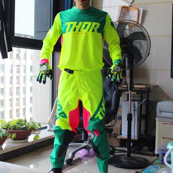 2020 dorosłych Motocross zestaw narzędzi motor terenowy MX Jersey i spodnie przekładnia motocyklowa zestaw MX koszulka i spodnie Moto Bike kombinezon wyścigowy tanie i dobre opinie Mężczyźni To keep warm 100 nylon