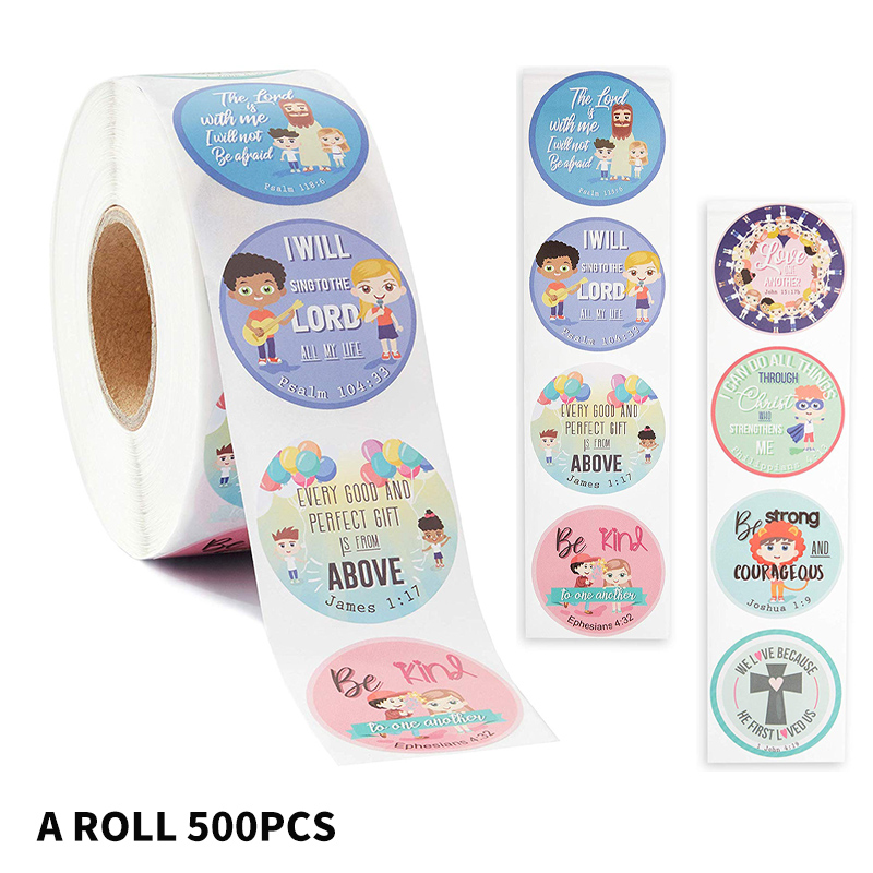 Religious Stickers Labels 8 Styles Pattern Christian Bible Verse Sticker For Kids School Baby Shower Cute Stationery Sticker