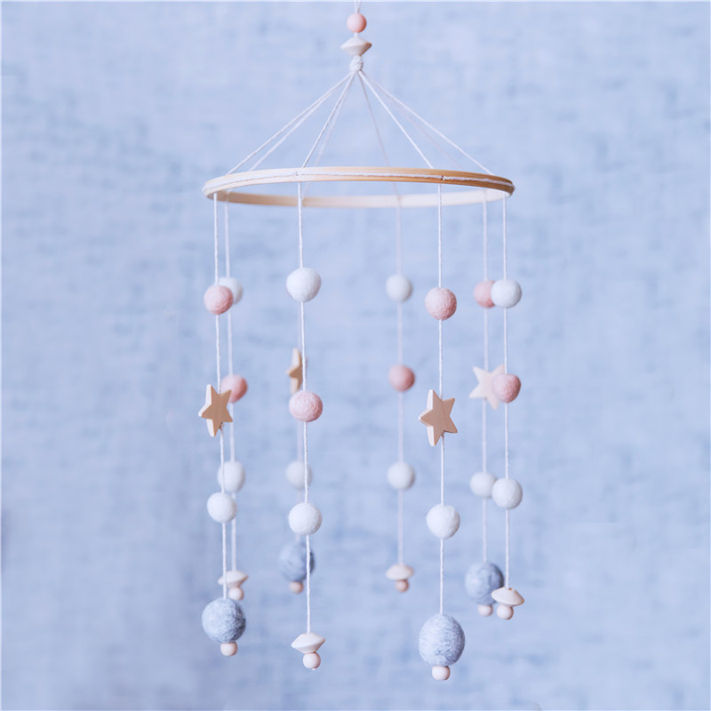 Baby Rattle Bell Toys Wooden Beads Crib Toy Bed Hanging Newborn Wind Chimes Bell Nordic Kids Room Decoration Photography Props
