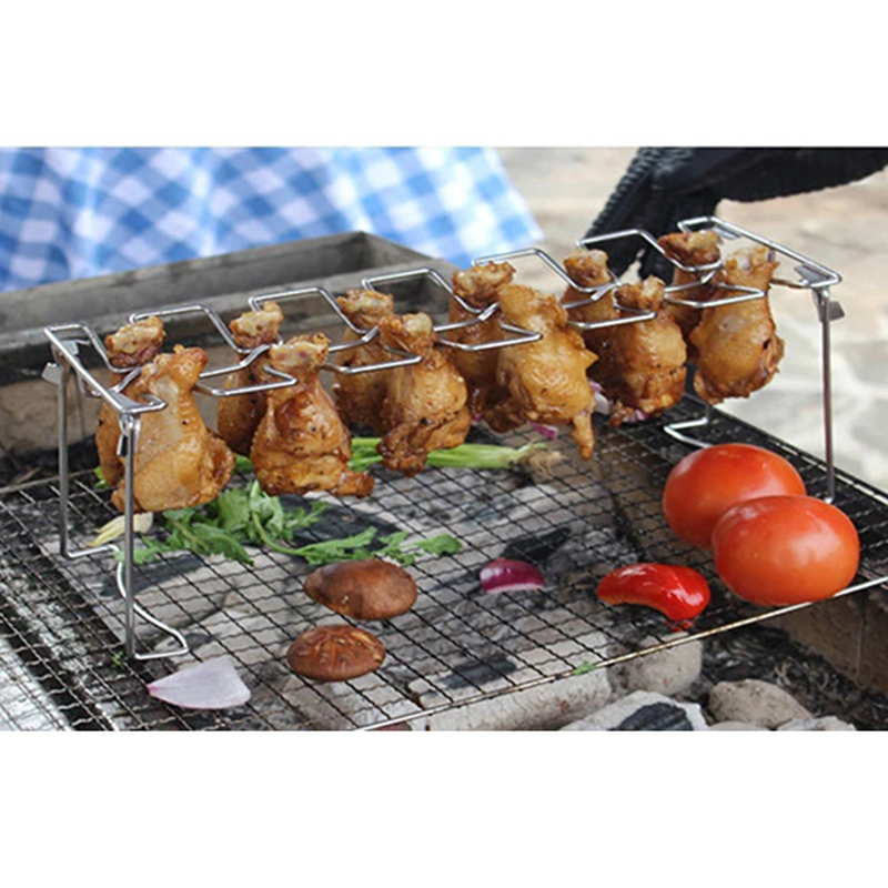 Stainless Steel Chicken Wing Leg Rack Grill Holder Rack With Drip Pan For BBQ Multi-Purpose Chicken Leg Oven Grill Rack
