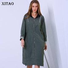 XITAO Letter Plus Size Trench Women Clothes 2019 Pocket Elegant Hooded Collar Wi