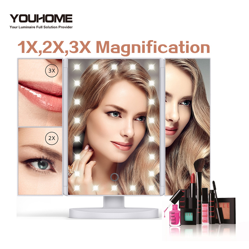 LED Touch Screen Cosmetic Mirror 1X/2X/3X/10X Magnifying Mirror Adjustable Angl Cosmetic Gift Vanity Table Desktop Makeup Mirror