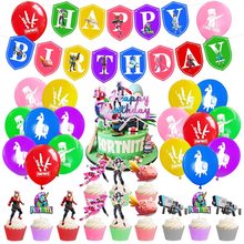 Rainbow Fortnight Happy Birthday Banner Cake Cupcake Topper Paper Card Latex balloon Festival Party Family Home DIY Decoration