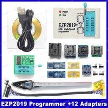2019 mais novo ezp2019 programador spi usb, programador de alta velocidade + 12 adaptadores, suporte 24 25 93 eeprom 25 flash bios chip de chip