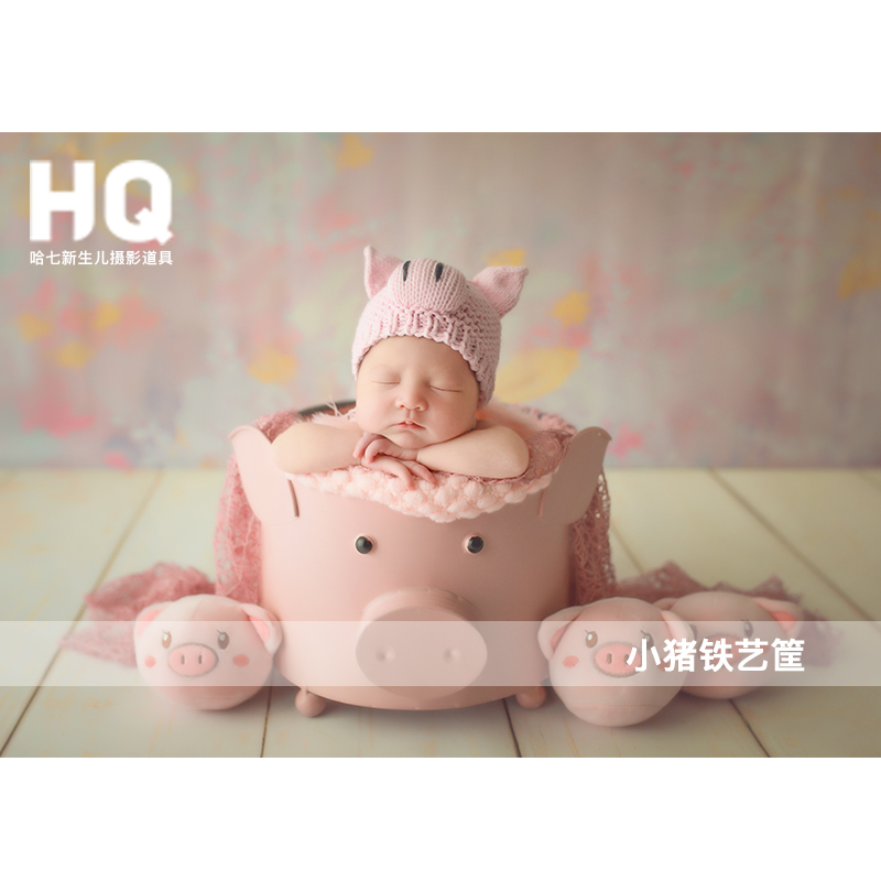 2020Newborn Photography Iron Bed Baby Photoshooting Props Infant Photo Studio Wood Crib Basket Accessories