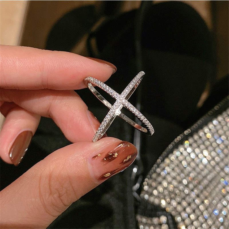 Choucong Lovers Cross Promise Ring 925 Sterling Silver Pave AAAAA Zircon Cz Engagement Wedding Band Rings For Women Jewelry