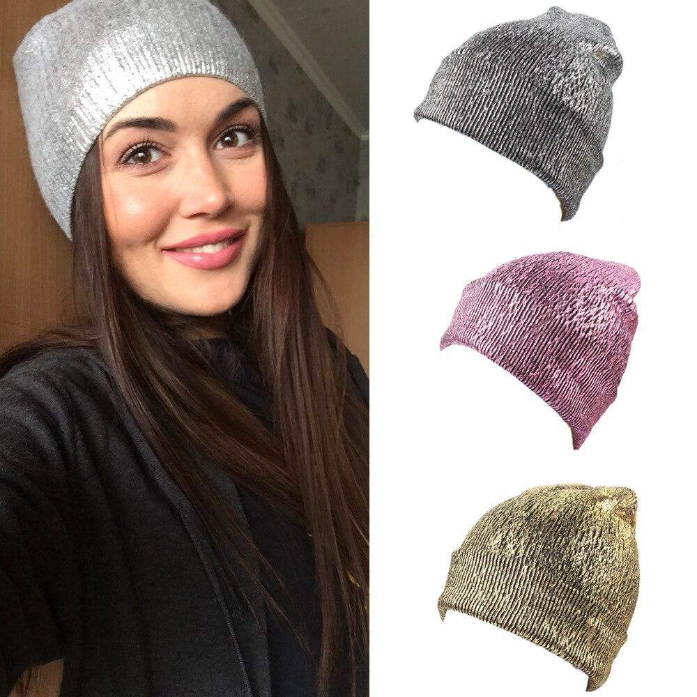 Knitted Bronzing Gold Silver Beanie Cap Pompom Winter Hats For Women Fur Pom Pom Ball Hat Ladies Girls Warm Skullies Beanies