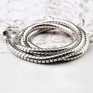 Image 5 - Großhandel männer Sterling Silber Anhänger Halskette Mode 925 Silber Glatte 4mm 20 / 22 Inch Snake Kette Junge/frau Schmuck