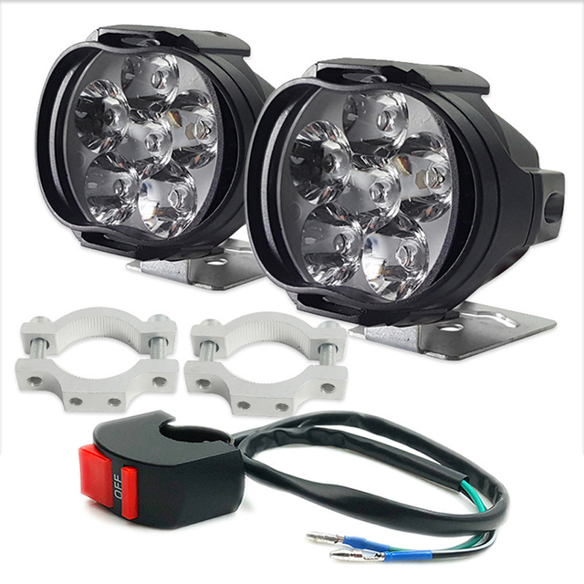 2x Motorcycles Headlight 6500k White 6 LED Working Spot Light Motorbike Bicycles Scooters Spotlights Modified Auxiliary Fog Lamp