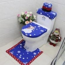 Рождественские Товары для ванной комнаты 3 шт./компл. Рождественское украшение синий снеговик чехол для унитаза и коврик для ванной Новогоднее украшение для дома