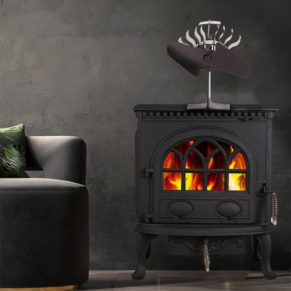 Fireplace Fan Heat Powered Stove Fan Wood Log Burner Eco Friendly Quiet Fan Home Efficient Heat Distribution Home Accessories