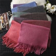 Кашемировый шарф для женщин, шали и палантины, мягкие длинные зимние шарфы, хиджабы, повязка на голову, теплая Пашмина с кисточками