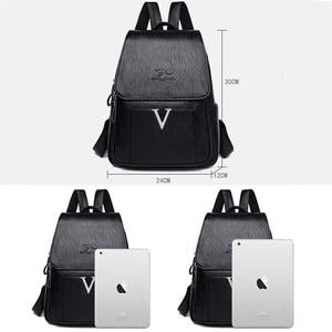 Image 4 - New V Letter Women Genuine Leather Backpacks Female Sac Travel Back Pack Ladies Bagpack Mochilas School Bags For Teenage Girls