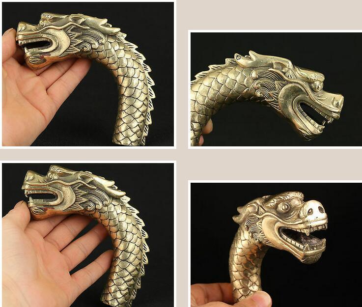 Japan Superb Old Bronze Hand Carved Skull Statue Walking Stick Head