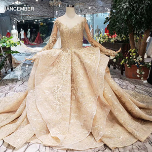 Image 1 - HTL151 golden puffy evening dress tulle o neck long sleeves special puffy skirt women occasion dress court train custom size