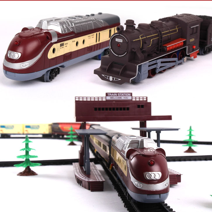 Classical Electric Light Train Railway Set Fenfa Modern Classical Assembled Music Train Rail Car Simulation Model Car Set Toy